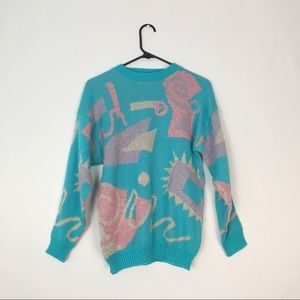 Vintage Pastel Pink Blue Graphic Sweater S